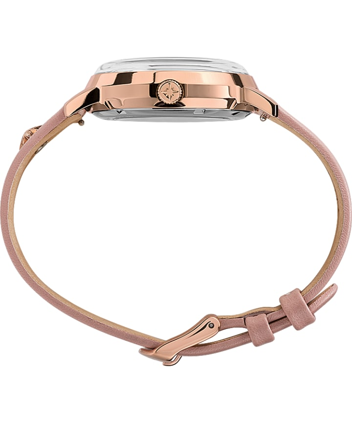 Celestial Opulence Automatic 38mm Leather Strap Watch Rose-Gold-Tone/Pink/Silver-Tone large