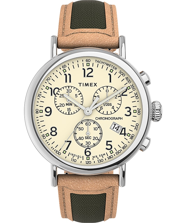 Timex Standard Chronograph 41mm Fabric with Leather Strap Watch  large