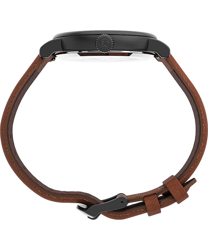 Timex Standard 40mm Leather Strap Watch Gunmetal/Black/Brown large