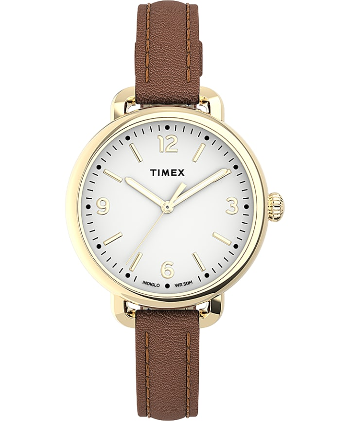 Timex Standard Demi 32mm Leather Strap Watch  large