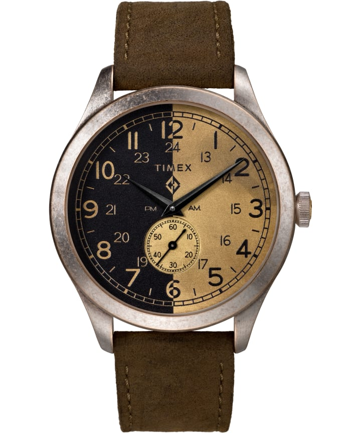 Timex x MadeWorn 41mm Leather Strap Watch  large