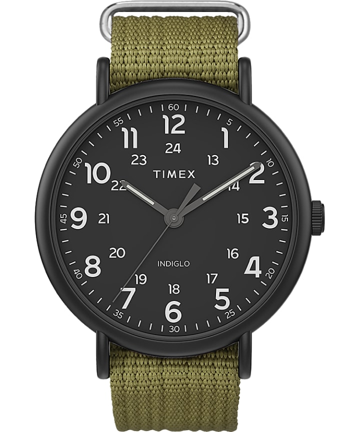 Timex Weekender® XL 43mm Leather Strap Watch Black/Green large