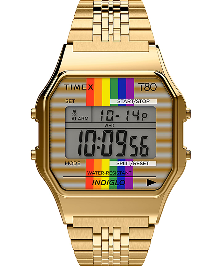 Timex T80 Rainbow 34mm Stainless Steel Bracelet Watch  large