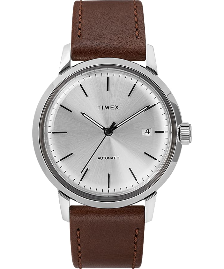 Marlin Automatic with Timex Pay 40mm Leather Strap Watch  large