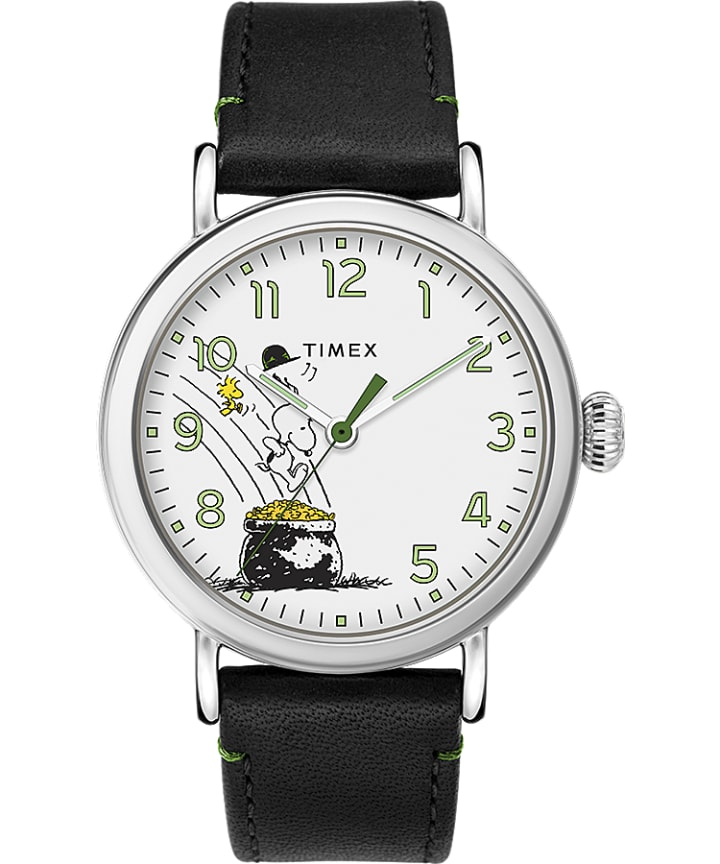 Timex x Peanuts St Paddys Day Standard 40mm Leather Strap Watch  large