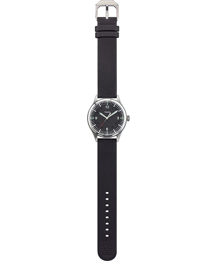 Waterbury United 38mm Leather Strap Watch Stainless-Steel/Black large