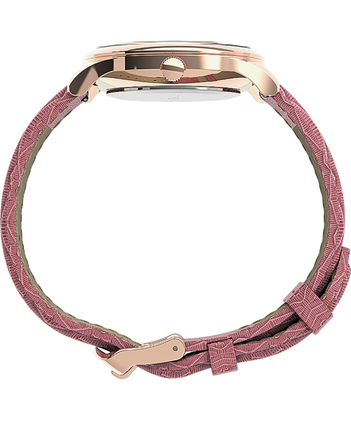 Easy Reader® Gen1 32mm Leather Strap Watch Rose-Gold-Tone/Pink/White large