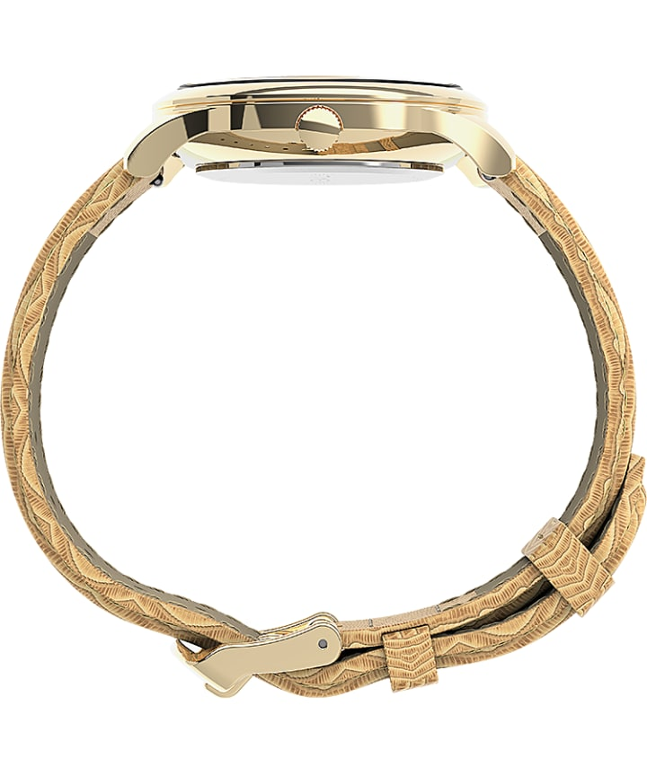 Easy Reader® Gen1 32mm Leather Strap Watch Gold-Tone/Tan/White large
