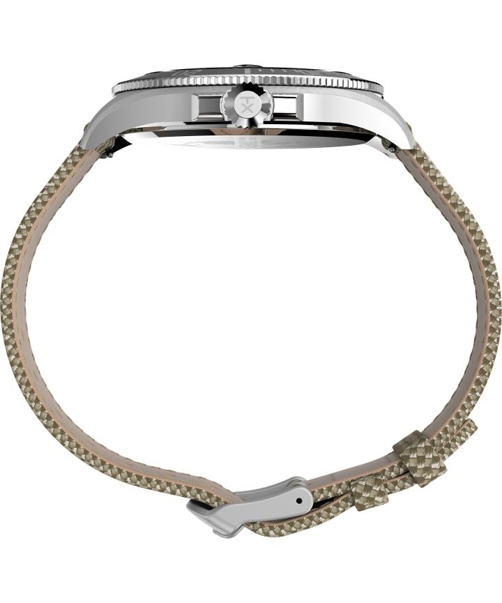 Harborside Coast 43mm Fabric Strap Watch Silver-Tone/Tan/Black large