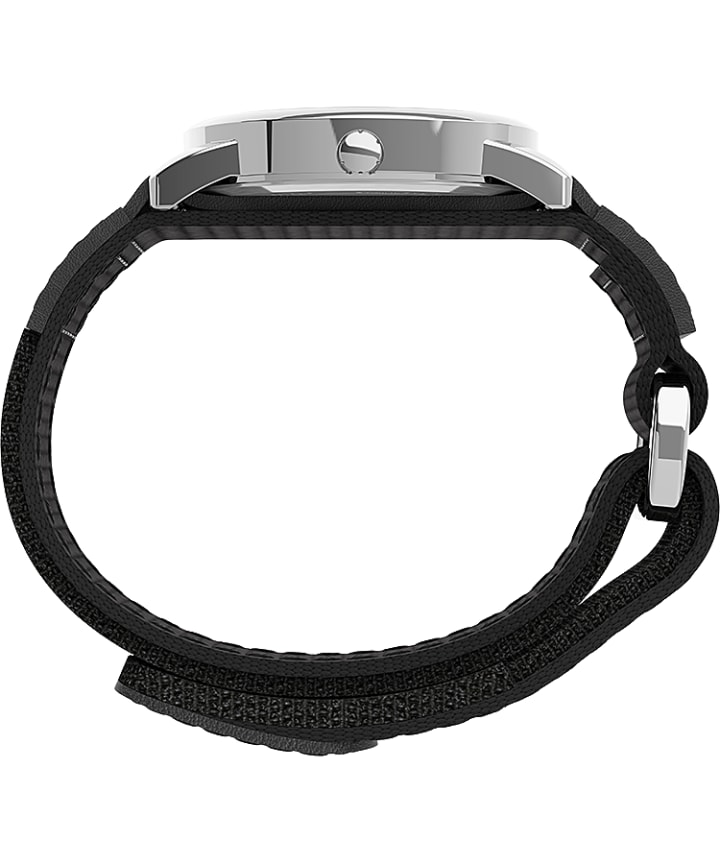 Easy Reader® 35mm Fabric Fast Wrap® Strap Watch Silver-Tone/Black/White large