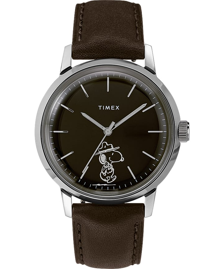 Marlin Automatic x Peanuts Featuring Snoopy Beagle Scout 40mm Leather Strap Watch  large