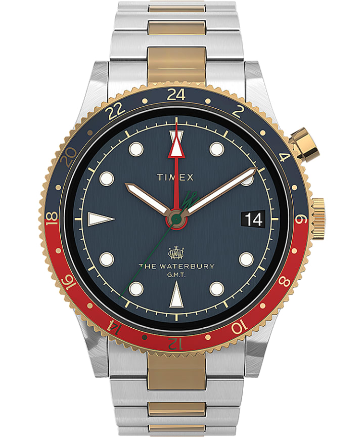 Waterbury Traditional GMT 39mm SST Stainless Steel Bracelet Watch  large