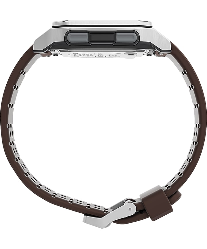 Command Urban™ 47mm Leather Strap Watch Silver-Tone/Brown large