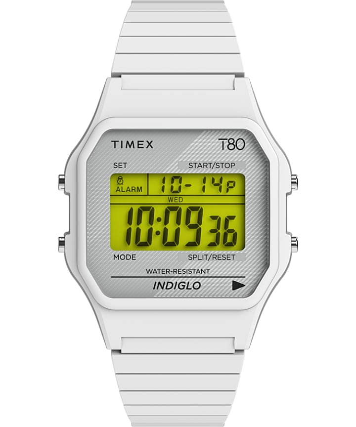 Timex T80 34mm Stainless Steel Expansion Band Watch  large