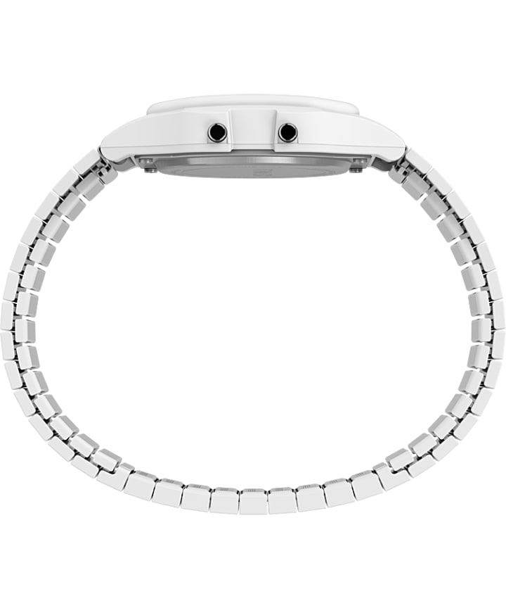 Timex T80 34mm Stainless Steel Expansion Band Watch White-Tone large