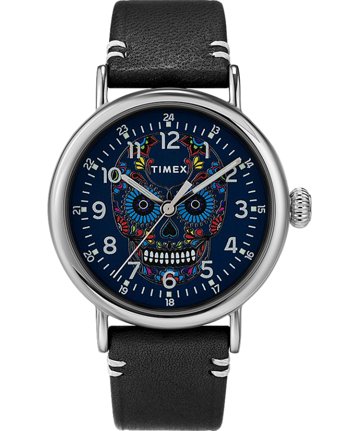 Timex Standard Día de los Muertos 40mm Leather Strap Watch  large