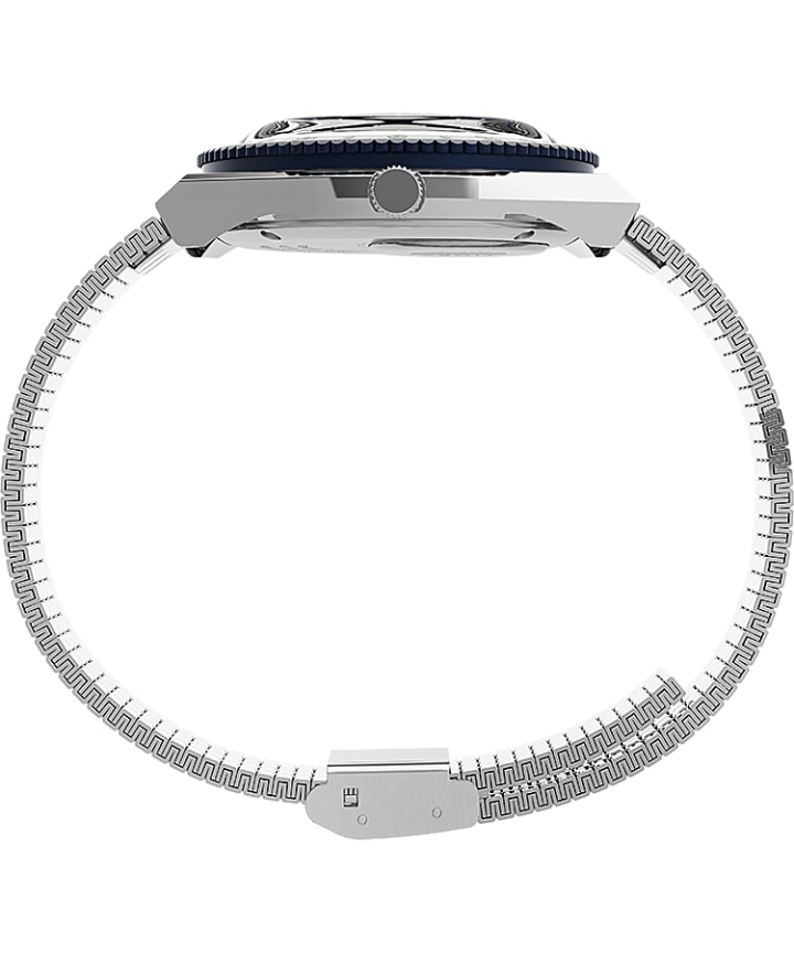 Q Timex 36mm Stainless Steel Bracelet Watch Stainless-Steel/Blue large