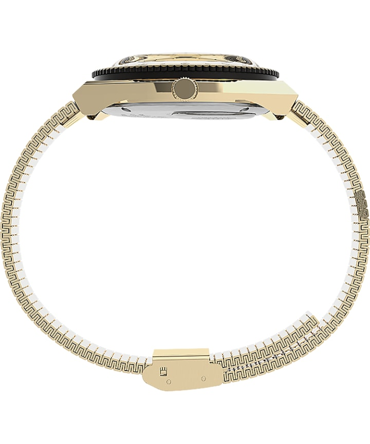 Q Timex 36mm Stainless Steel Bracelet Watch Gold-Tone/Cream large
