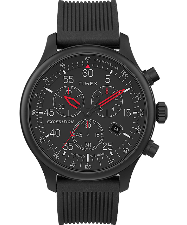 Expedition Field Chronograph 43mm Resin Strap Watch Black large