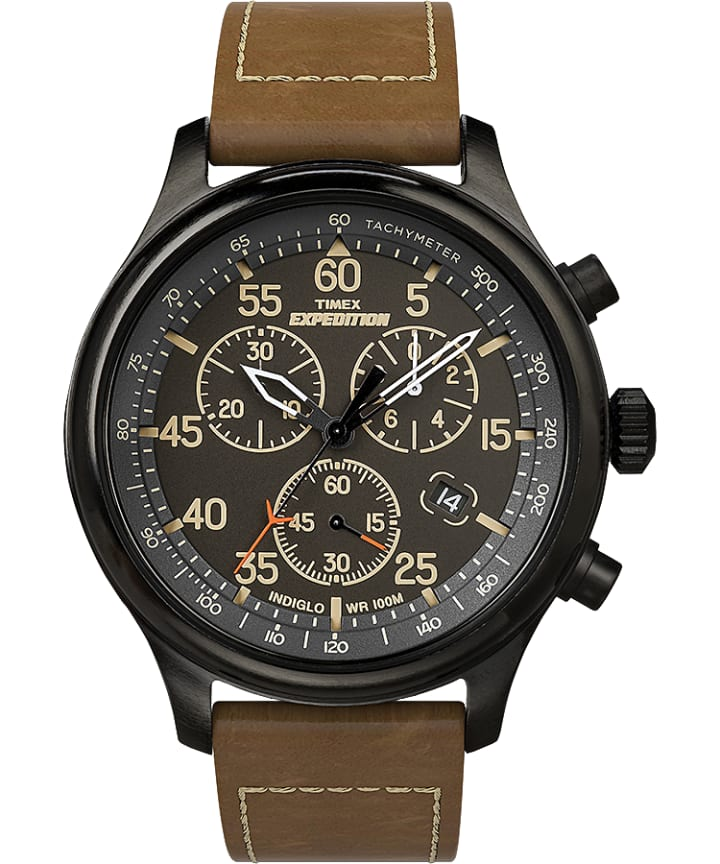 Expedition Field Chronograph 43mm Leather Strap Watch Black/Brown large