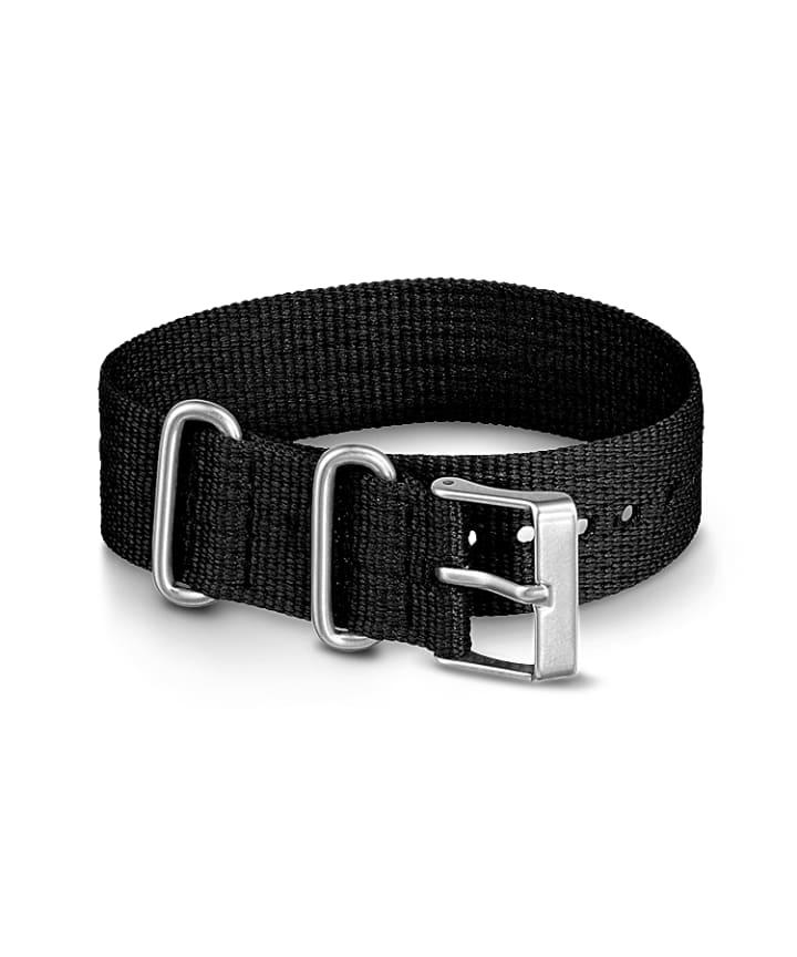 20mm Fabric Slip-Thru Single Layer Strap Black large