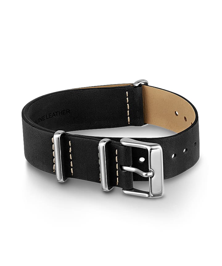 20mm Leather Slip-Thru Double Layer Strap Black large