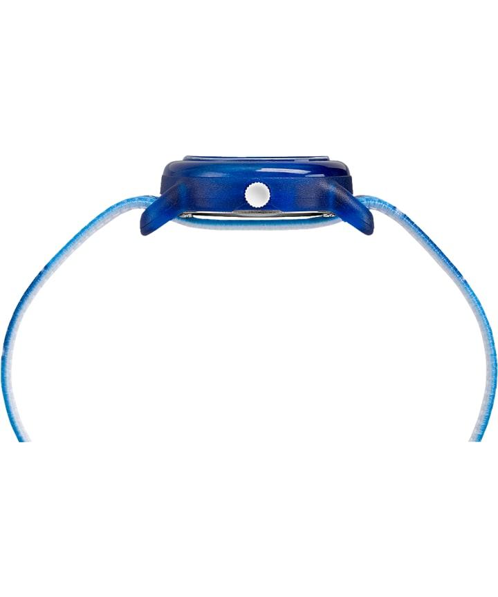 Kids Analog 28mm Elastic Fabric Strap Watch Blue/White large