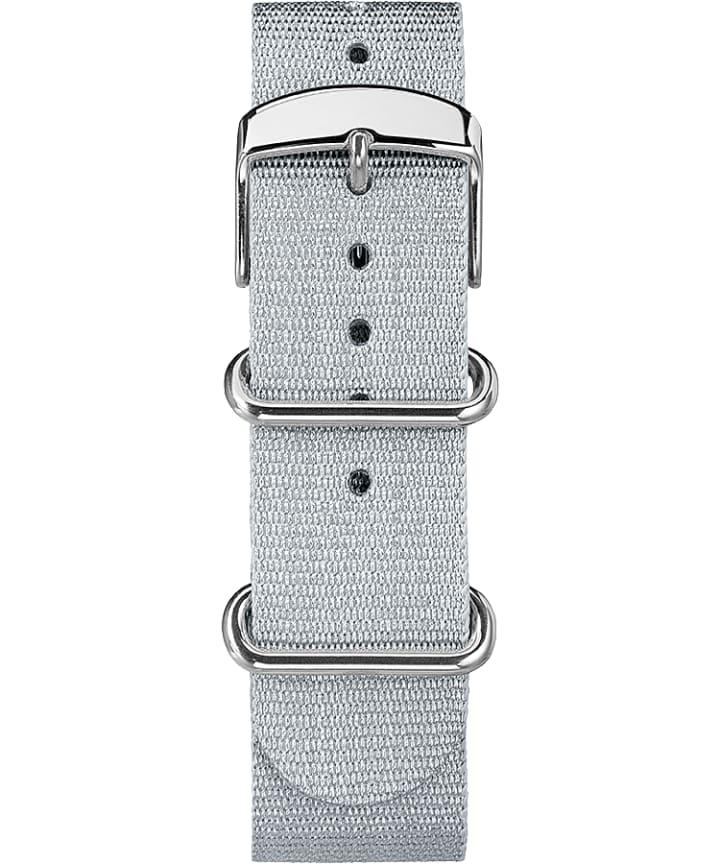 20mm Metallic Woven Fabric Slip-Thru Strap Silver-Tone large