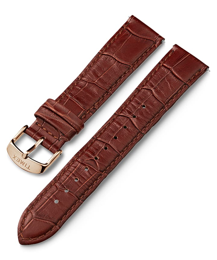 20mm Rose Gold Tone Buckle Croco Pattern Quick Release Leather Strap  large