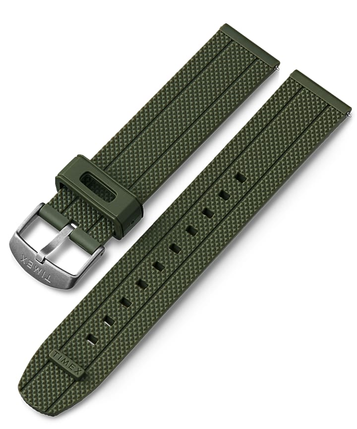 20mm Fabric Strap with Leather Accents Green large
