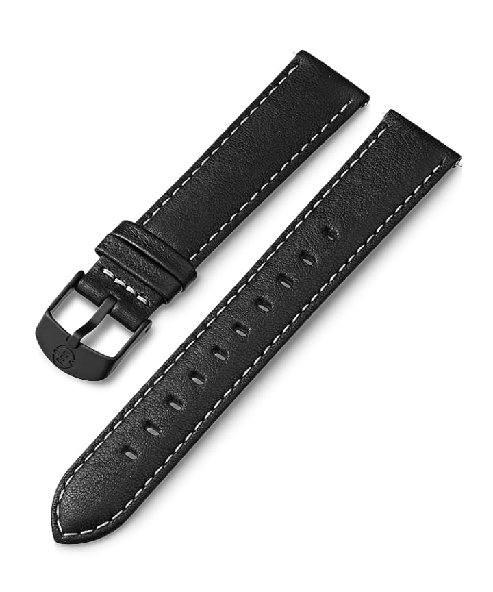 18mm Leather with White Stitching Strap  large