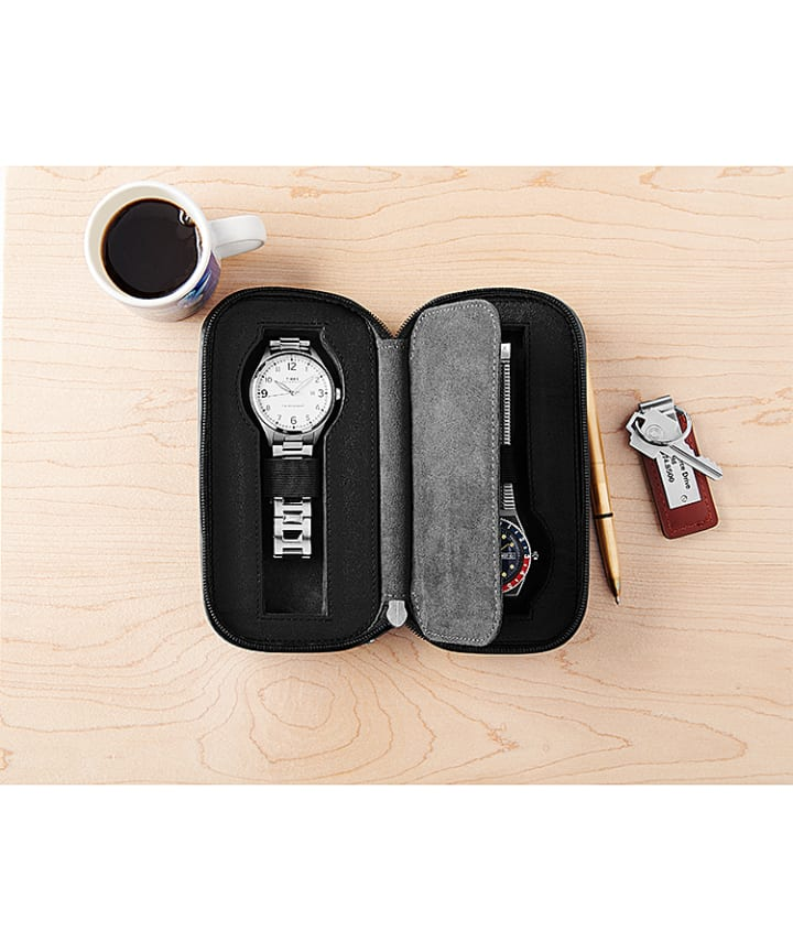 Leather Mini-Folio Case For Two Watches Black large