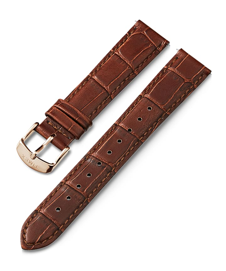 18mm Quick Release Leather Strap with Timex Pay Brown large