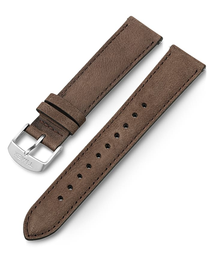 20mm Quick Release Leather Strap with Timex Pay Brown large