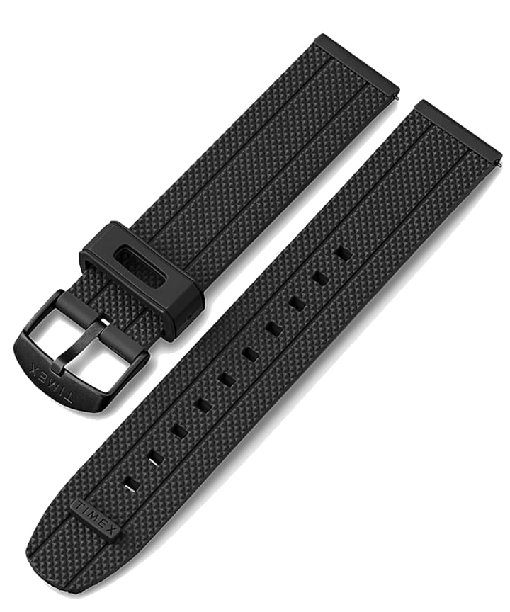 20mm Quick Release Silicone Strap with Timex Pay Black large