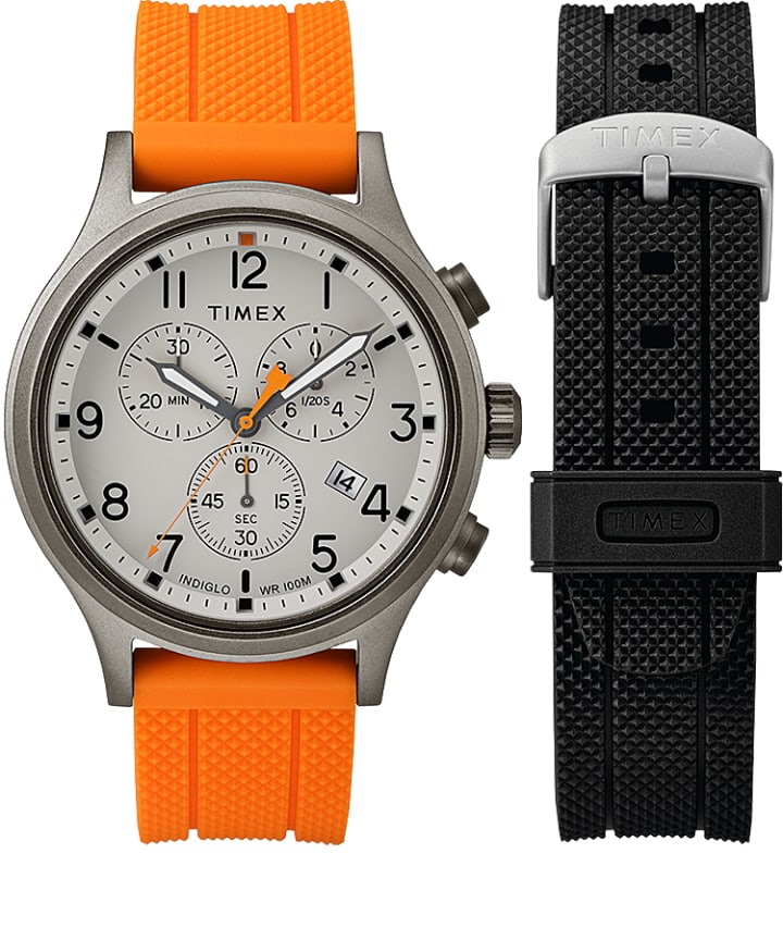 Allied Chronograph Geschenk-Set mit Extra-Armband, 42 mm Gray/Orange large