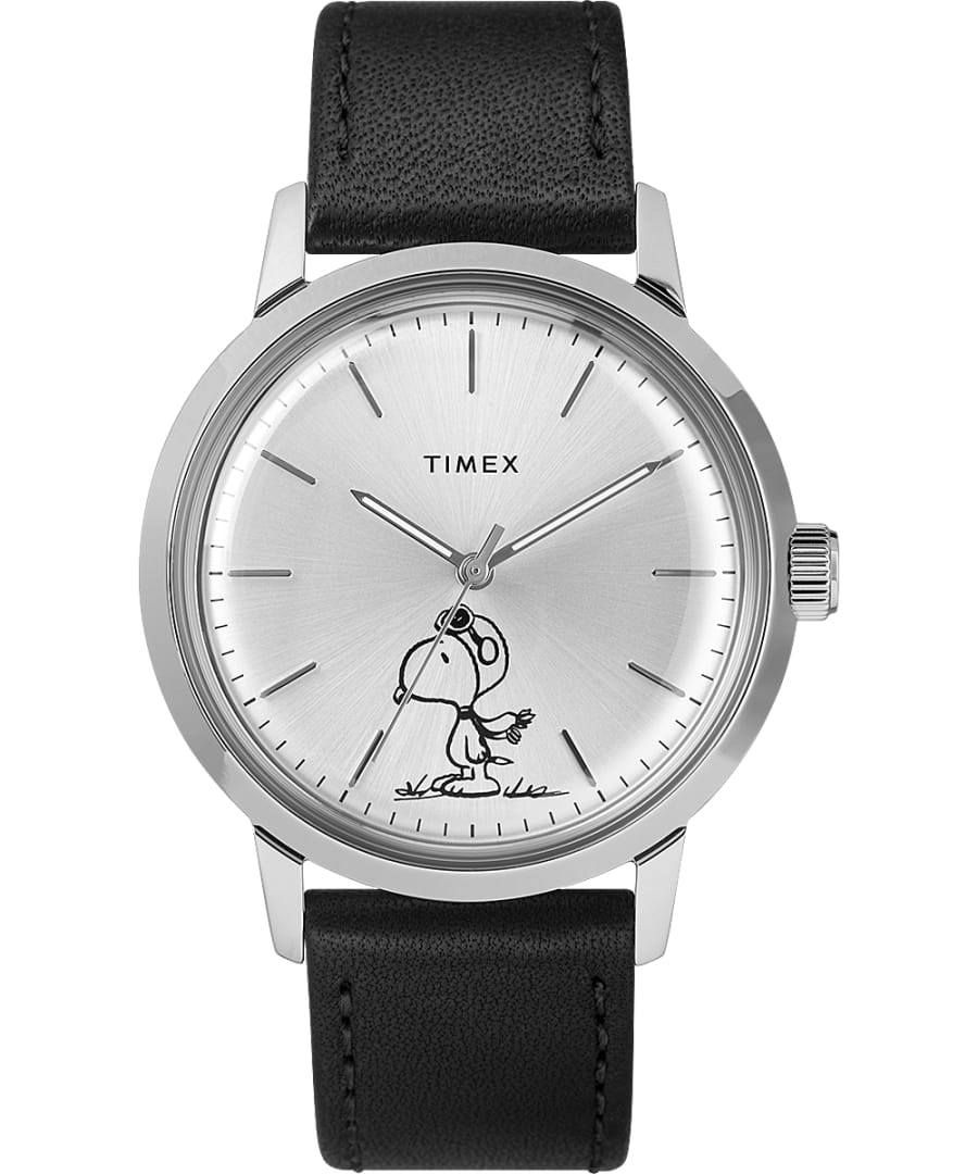 Marlin Automatic X Peanuts Featuring Snoopy Flying Ace 40mm Leather Strap