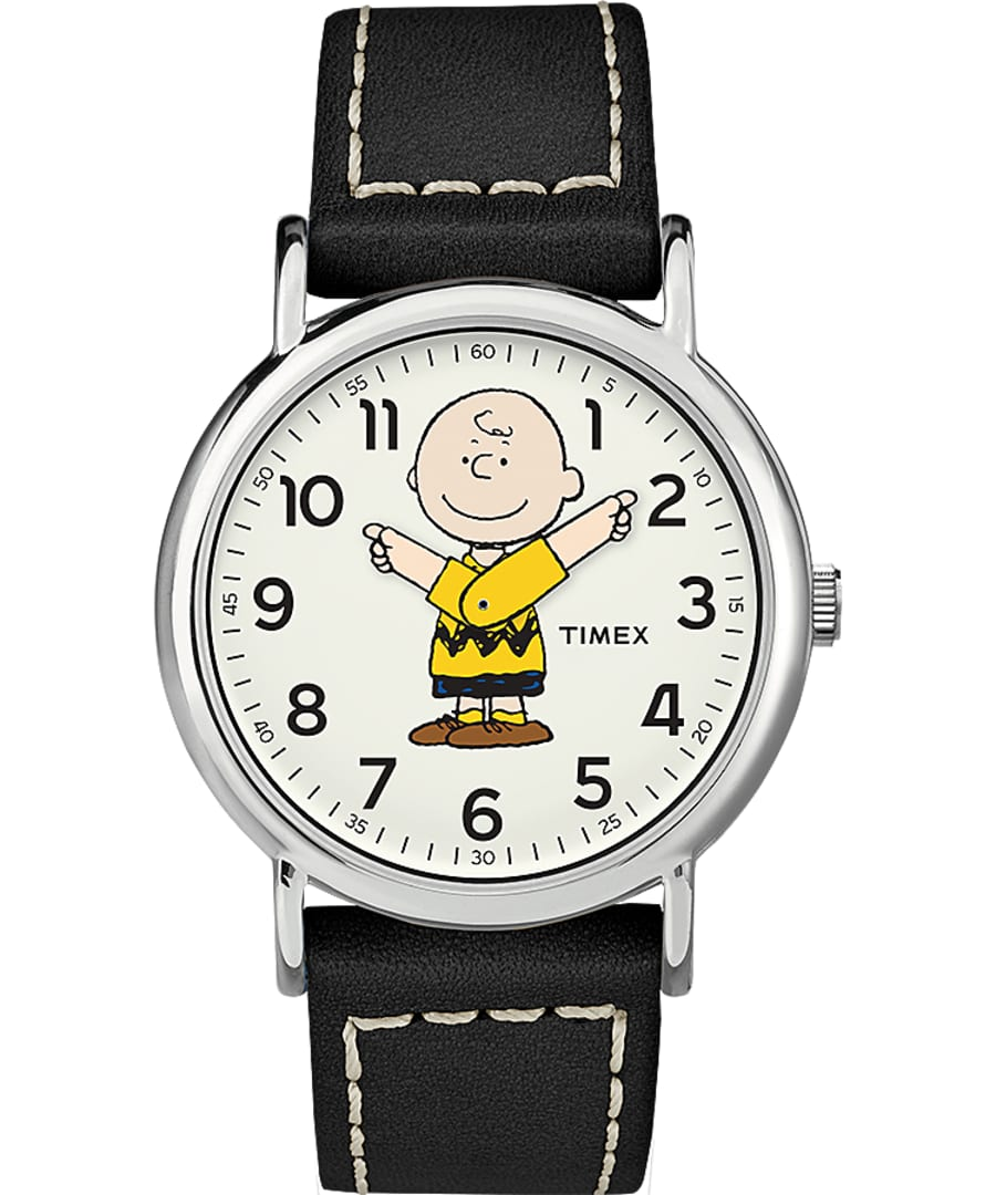 Timex Peanuts Charlie Brown 38mm Black Leather Strap Watch (Silver-Tone/Black/White)