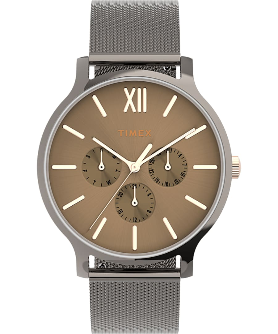Transcend? Multifunction 38mm Stainless Steel Mesh Band Watch