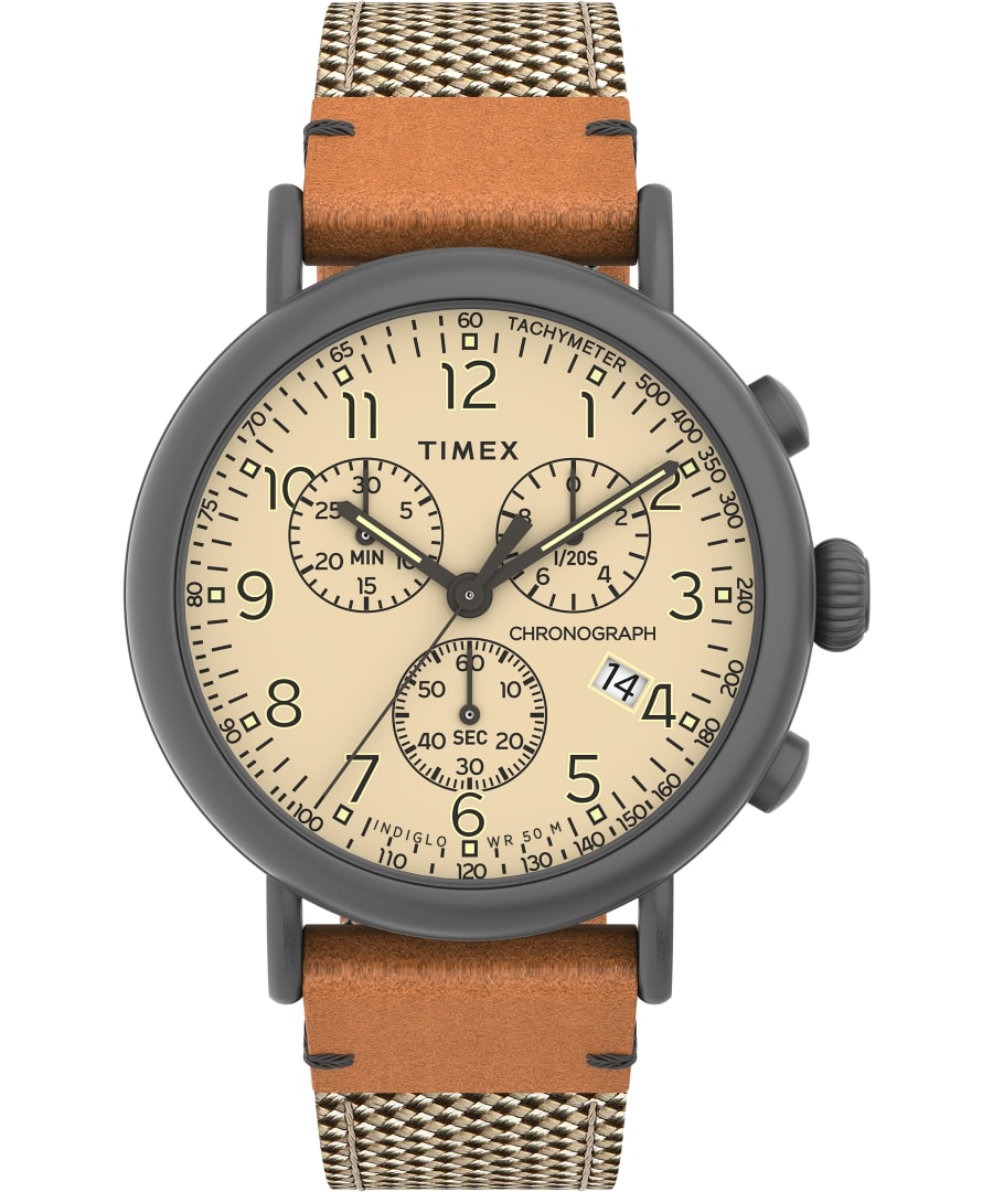 Chronograph 41mm Fabric and Leather Strap Watch