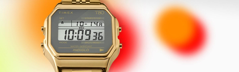 Timex T80 Gold Watch.