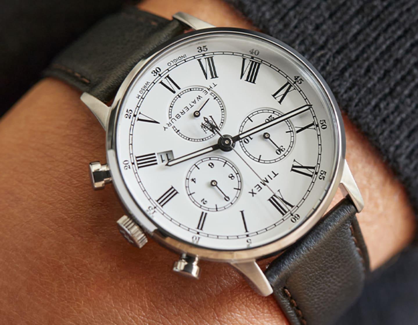 Waterbury Chrono Roman Numeral WHITE dial Watch.