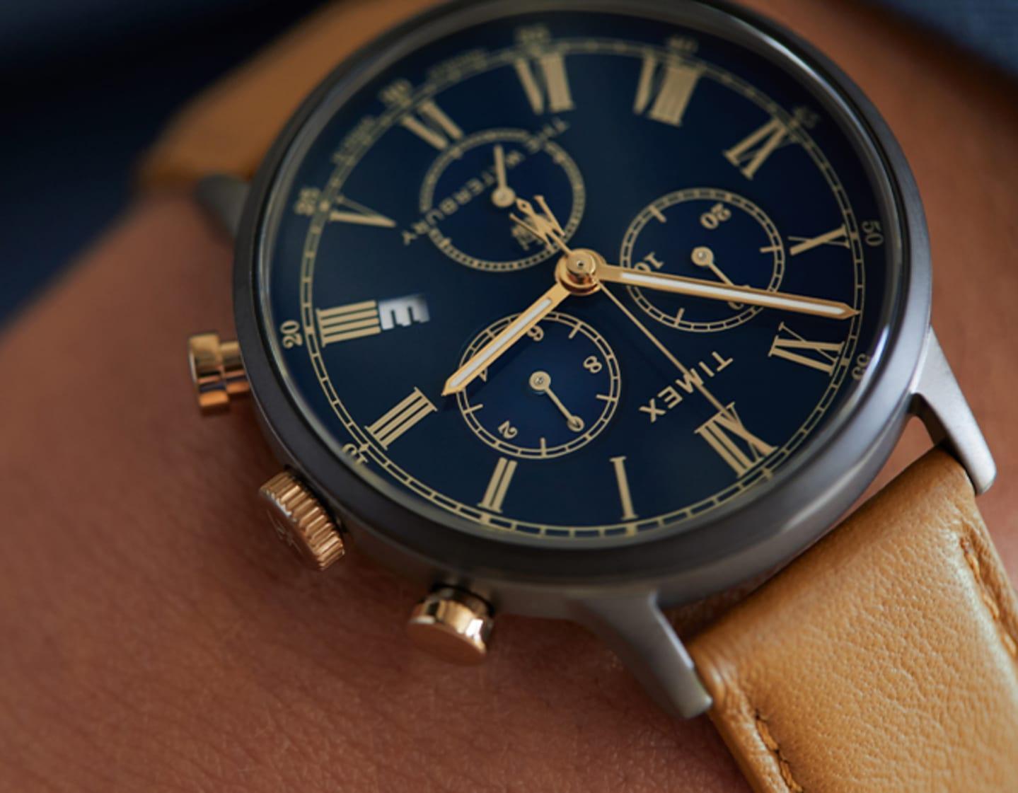 Waterbury Chrono Roman Numeral BLUE dial Watch.
