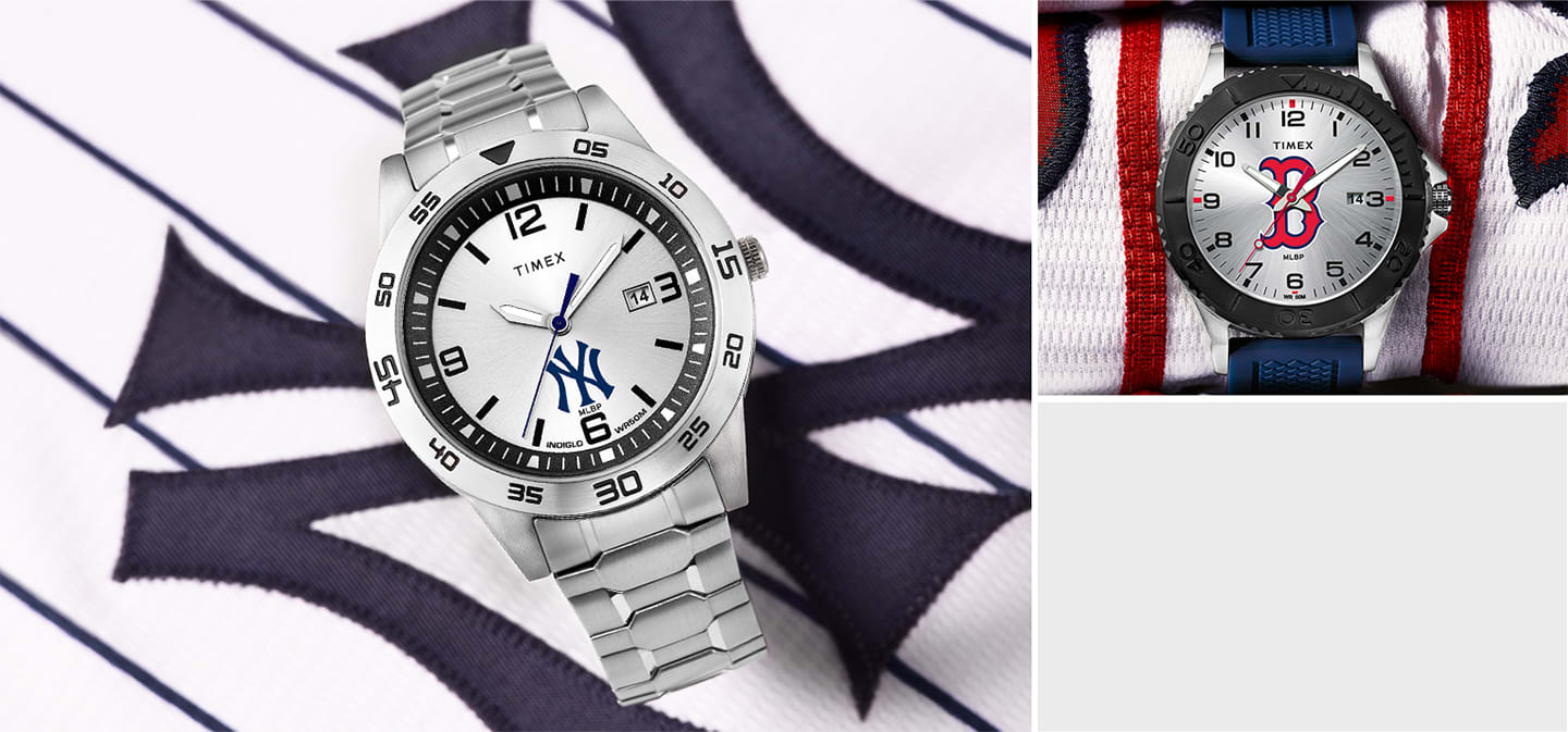 Silver Men's Yankee Watch With Logo In The Center and Blue Strapped Red Sox Watch With Red Sox Logo In Center Of Watch