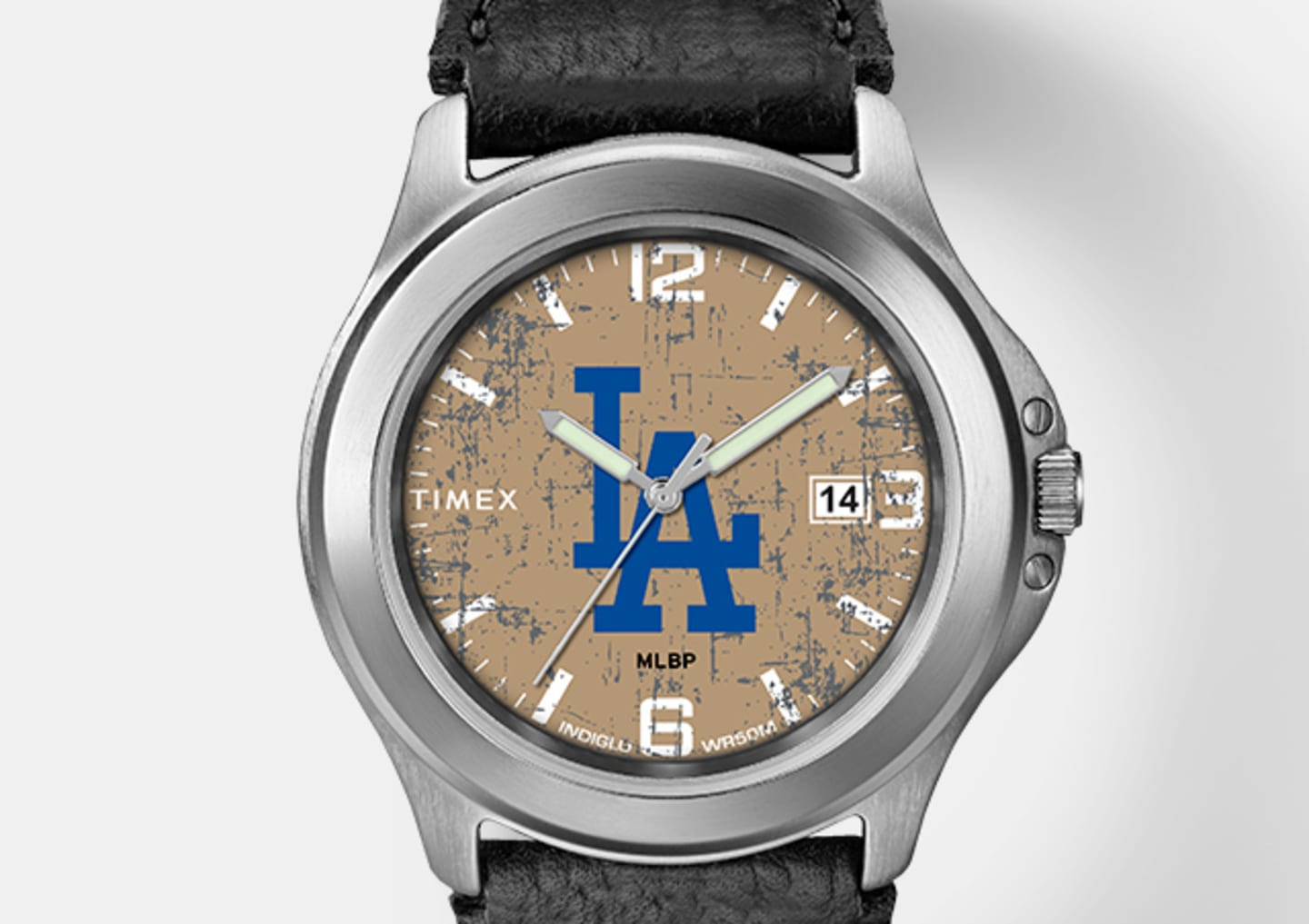 Silver Men's LA Watch With Black Straps And Blue Logo In Center