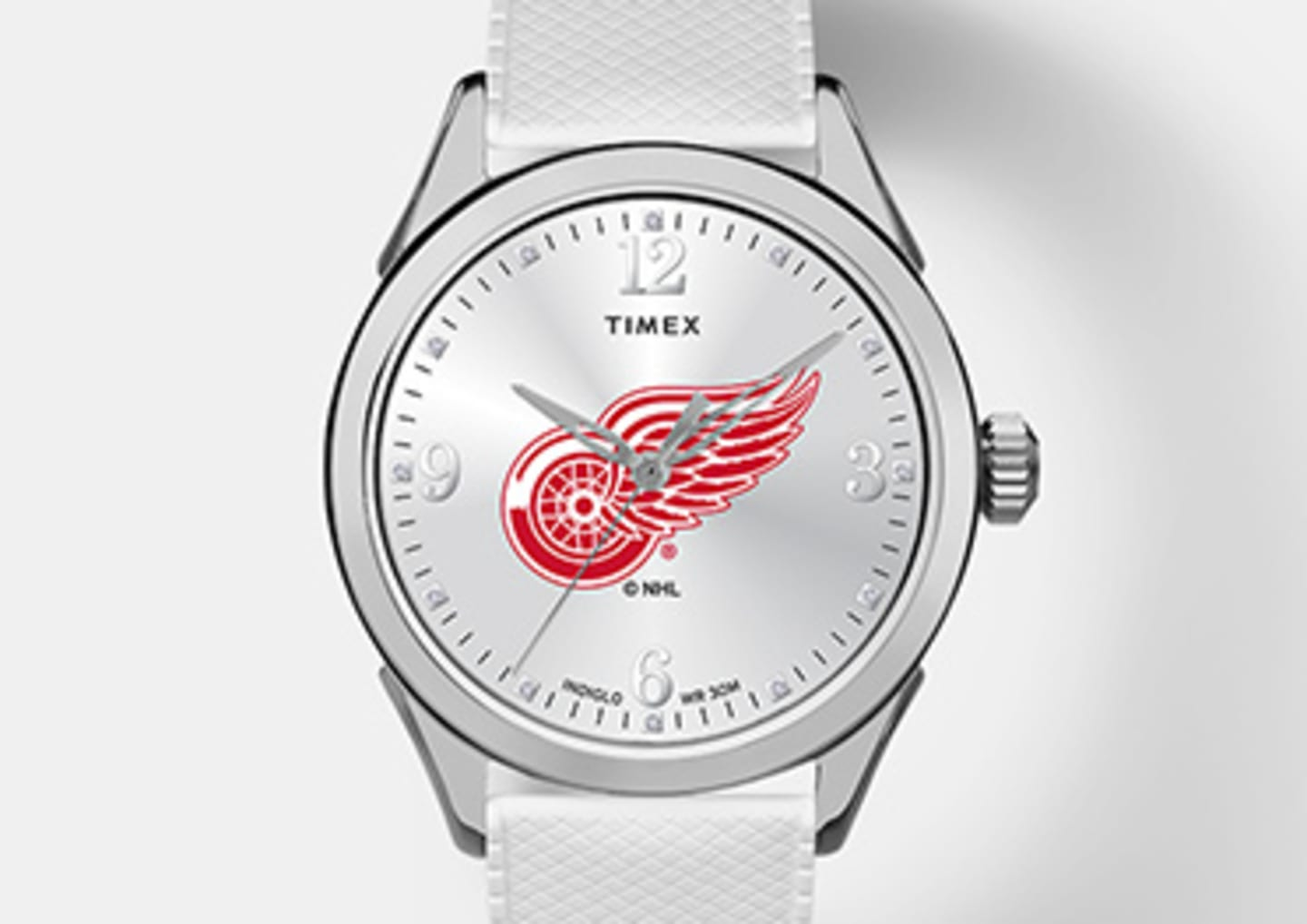 Silver Red Wings watch with logo in the center emphasizing women's watches