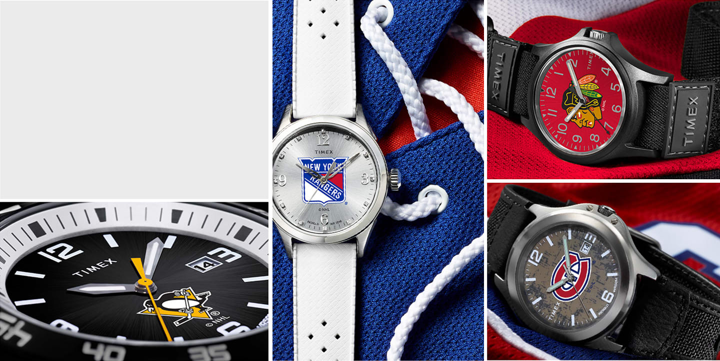 NHL watches including NHL silver rangers watch black canadians watch black penguins watch and the black blackhawks watch