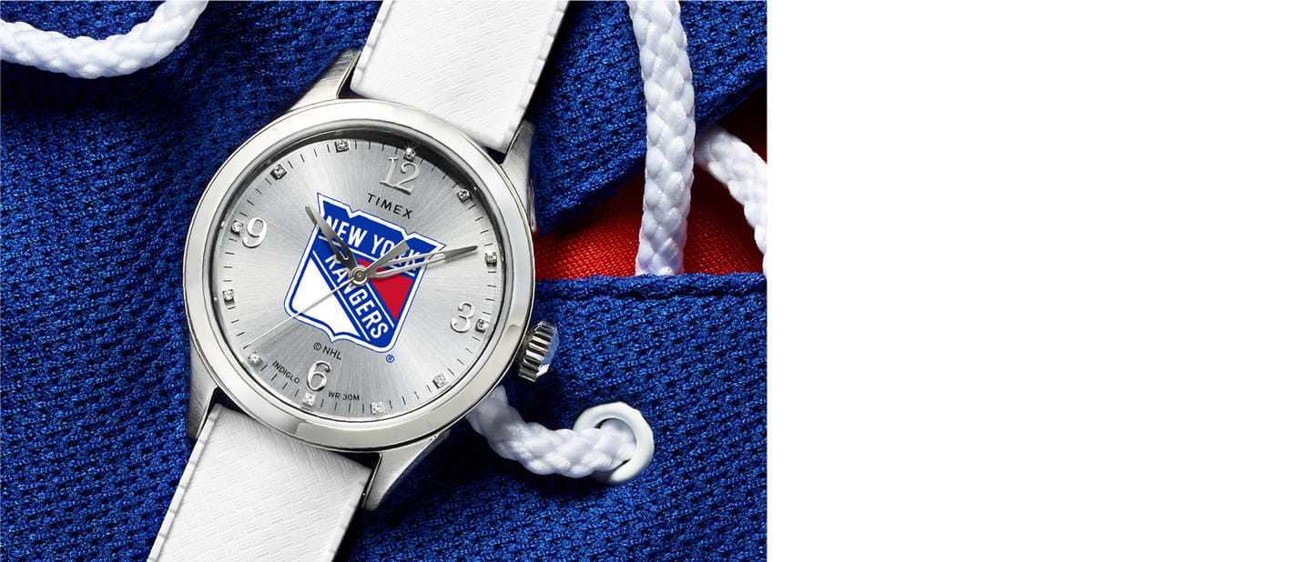 Rangers NHL silver watch with logo in center