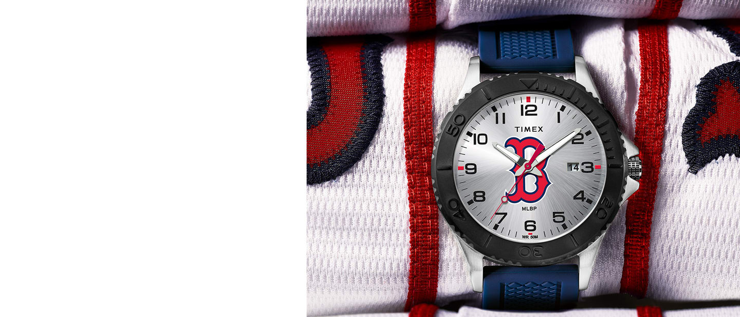 Red Sox MLB watch with blue straps and logo in the center