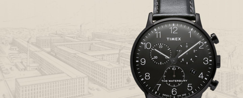 Schwarze Waterbury Uhr